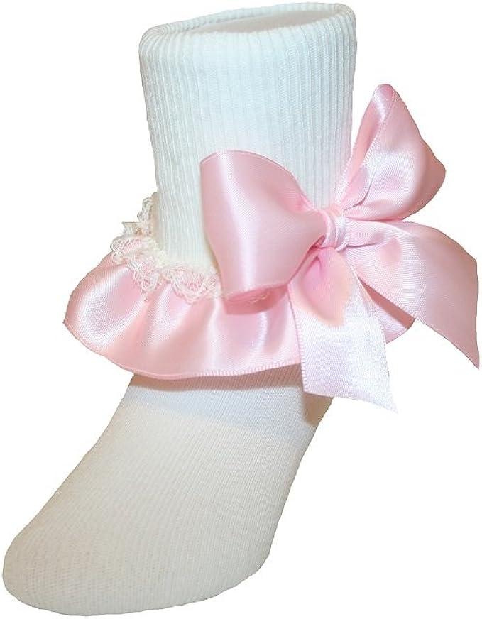 Girls White Nylon /& Lace Flower Girl Socks with Royal Blue Satin Ribbon Bows