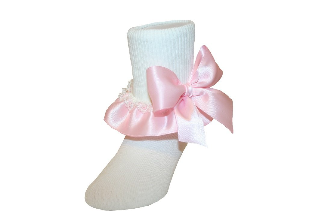 Girls Ivory Socks Lace & Satin Ruffle Bow Assorted Colors for Baby to Girls (8-9.5 Girls, Light Pink)