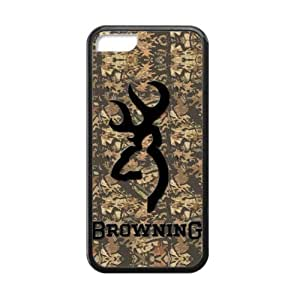 Qezi Brown Leaves Browning Cutter Logo iPhone 5C Cell Phone Cases Cover(Laster Technology) by runtopwell