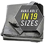Tarp Cover 50X50 Silver/Black Heavy Duty Thick Material, Waterproof, Great for Tarpaulin Canopy Tent, Boat, RV Or Pool Cover! by Trademark Suplies