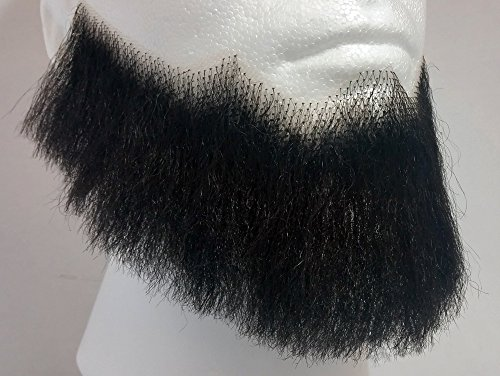 Theatrical Beards (Full Character Beard BLACK - 100% Human Hair - no. 2024 Spirit Gum Included - REALISTIC! Perfect for Theater and Stage - Reusable!)