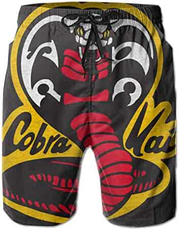 f714fd0083801 Cobra Kai Mens Swim Trunks Summer Quick Dry Board Shorts Elastic Waist Swimwear  Bathing Suit with