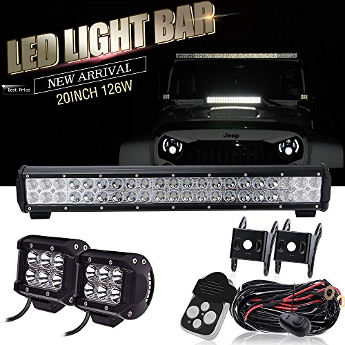 Spead-Vmall DOT Approved 20Inch Spot Flood Combo Led Light Bar Reverse For Front Rear Bumper Brush Bull Bar Grille Trails Truck Rtv Tractor Jeep Ford F150 Polaris ATV Boat Golf Cart Mower Honda UTV