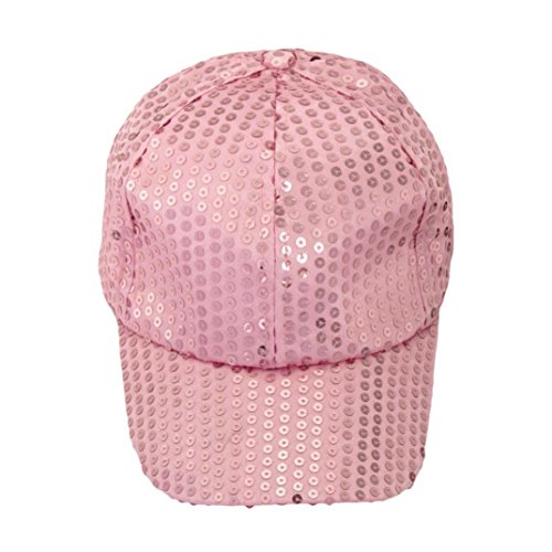 Voberry® Women Sequins Shiny Flashy Sunscreen Baseball Hat Ball Cap Adjustable (Pink Sequin Hat)