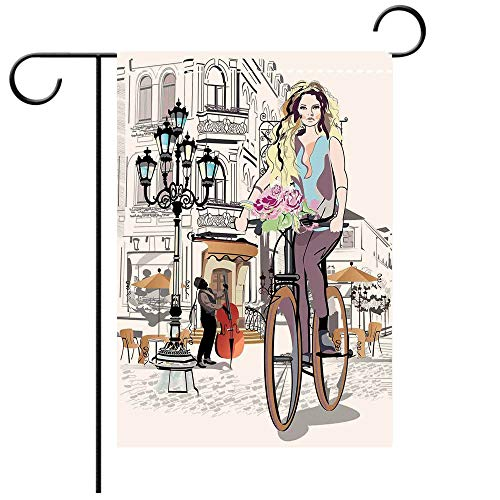 BEICICI Garden Flag Double Sided Decorative Flags Fashion House Decor Girl with Bike and Roses in a Street Old Town Musician Romantic Tour in City Pink Best for Party Yard and Home Outdoor Decor ()