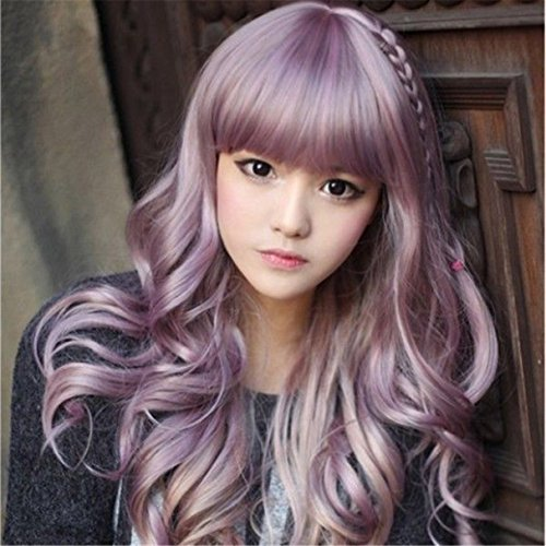 Superwigy Sweet Lolita Anime Wig Purple Hair with Pigtail 70cm Long Curly Synthetic Wigs (Purple Pigtail Wig)