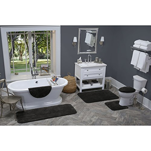Maples Rugs Bathroom Rugs - Cloud Bath 20 x 34 Washable Non Slip Bath Mat [Made in USA] for Kitchen, Shower, and Bathroom, Rich Black