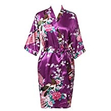 J.ROBE Women's Printing Lotus Kimono Robe Nightwear Short Style Bathrobe