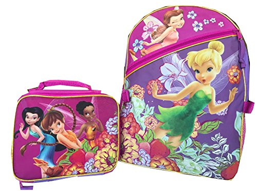 Disney Tinkerbell Fairies Backpack Large and Insulated Lunchbox Bag