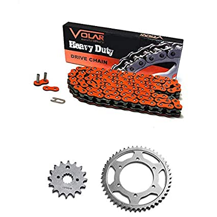Volar O-Ring Chain and Sprocket Kit Orange for 1996-2015 Suzuki DR200SE