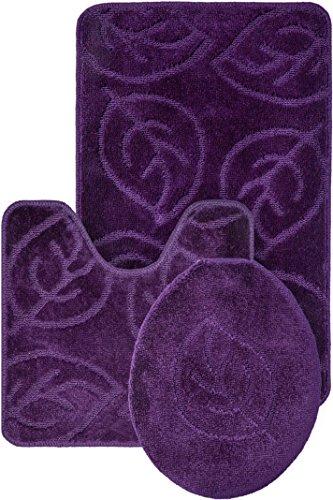Everdayspecial Purple Bath Set Leaf Pattern Bathroom Rug (18