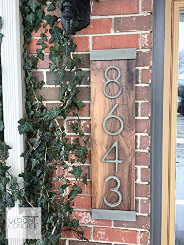 Modern House Numbers Vertical, House Numbers Sign, Modern,Wood and Concrete Address Plaque, Custom house Address Sign, Realtor Closing Gift, Personalized Housewarming Gift. V