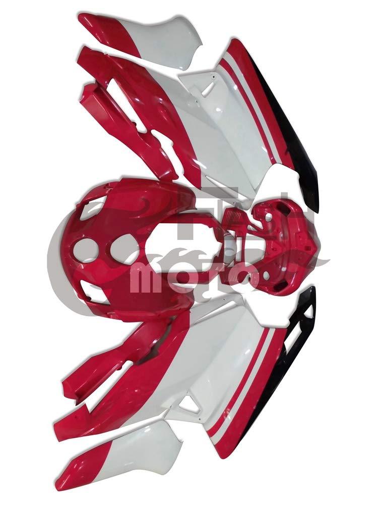 FlashMoto ducati デュカティ 999 749 2005 2006用フェアリング 塗装済 オートバイ用射出成型ABS樹脂ボディワークのフェアリングキットセット レッド, ホワイト   B07L89LW15