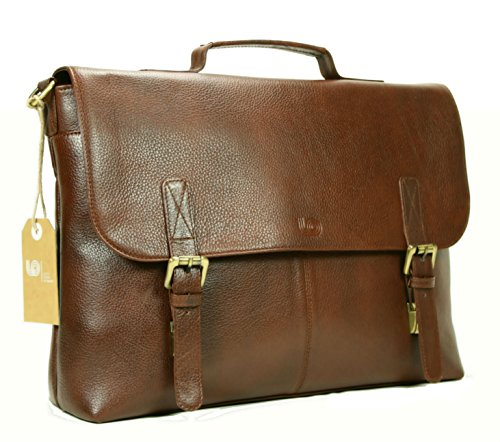 Leather Laptop Briefcase / Messenger Bag / Mens Satchel / Office Work Bag in Brown Top Grain Cow Leather by LeftOver Studio by Leftover Studio