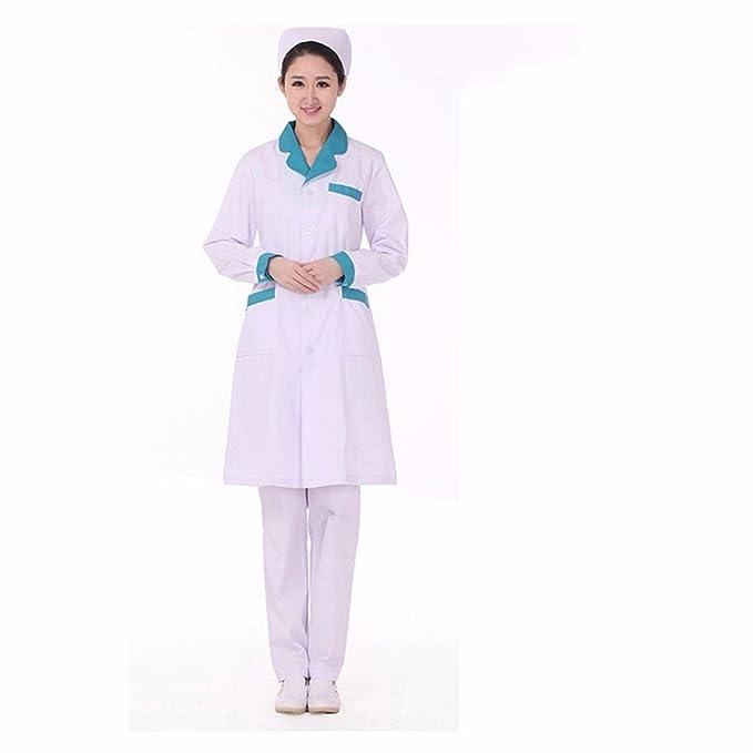 Xuanku Tienda De Ropa De Trabajo, Médico Enfermera Vestido Manga Larga Bata Blanca De Laboratorio