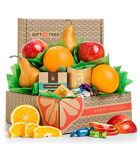 GiftTree Harvest Fruit and Snack Gift Box | Includes Delicious Apples, Juicy Oranges, Pears and Almond Roca | Great Gift for Holidays, Christmas, Birthday, Thank You