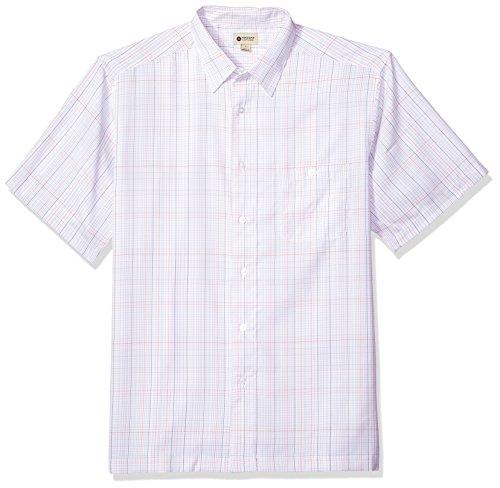 Haggar Men's Short Sleeve Microfiber Woven Shirt, White/foil, - Woven Big Shirt