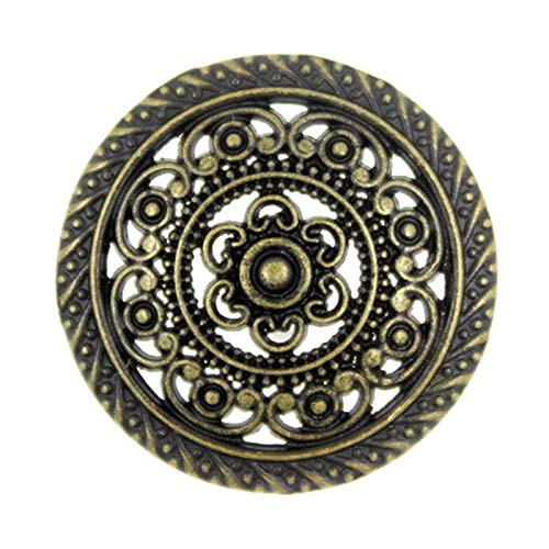 (Bezelry 8 Pieces Metal Lacework Filigree Antique Brass Metal Shank Buttons. 30mm (Antique Brass))