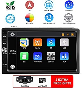 "7/"" Car Double Din GPS Radio Stereo Player HD Dash Navigator FM//AM USB Free Maps"