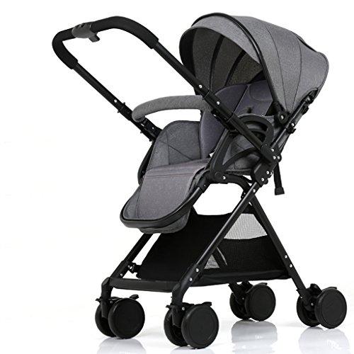 Tengxaing Travel Baby Stroller High Landscape Adjustable Height Aluminum Child Umbrella Push Chair Portable Baby Push Chair Pushchairs (Color : Gray)
