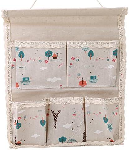 KLUMA 収納袋 壁掛け ウォールポケット 収納ポケット 小物整理  吊り下げ スペース節約  綺麗 便利 大きめタイプ 綿 麻