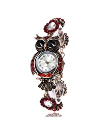 Yoyorule 2017 Vintage Owl Fashion Womens Quartz Bracelet Brand Watches Gift Wrist Watch (B)