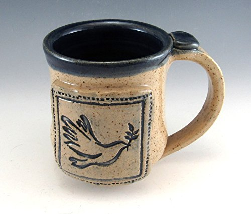 Pottery Peace Dove Mug/ Hand Made stoneware pottery mug, 10-12 Ounces