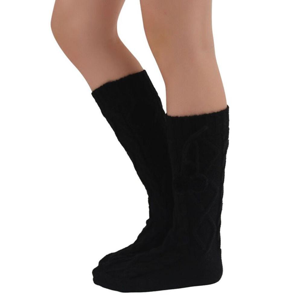 ホットセールレディースKnee Boot Socks、jushyeレディースニットロングブーツソックス膝上ストッキングニットHangingボールソックス B077KSC5HR ブラック ブラック