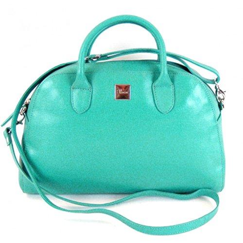 Pavini Damen Tasche Shopper Saffiano Leder türkis 12556 Reißverschluss Handyfach