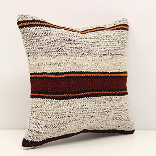 Handmade Kilim Cushion - Handwoven Kilim pillow 14x14 Inch (35x35 cm) Anatolian Kelim pillow Oriental Kilim Cushion cover