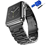Apple Watch Band 42mm Stainless Steel, Honest kin iWatch Ultra Thin Slim Stainless Steel Link Bracelet Metal Replacement Strap with Butterfly Clasp for Apple Watch Series 3 / 2 / 1 Women Men-Black