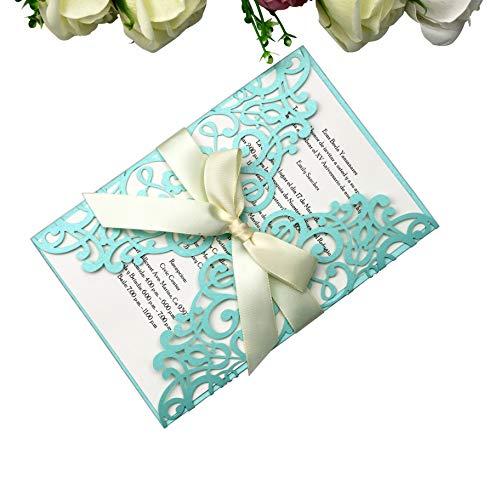 PONATIA 25 PCS Laser Cut Invitations Card with Ribbon for Wedding Bridal Shower Engagement Birthday Graduation Invitation Cards (Tifny Blue) ()