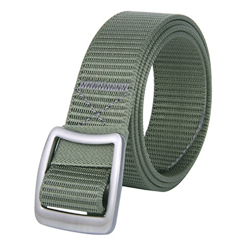 JINIU Men's Nylon Canvas Web Belt Military Style Casual Outdoor Army Tactical Webbing Buckle Belt Green Color (JNSG13) (Belted Canvas Belt)