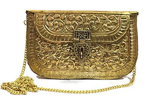 Gold Metal clutches,Vintage Bag,Ethnic Clutch, Handmade bag, Brass Bag,metal purse,Antique Bag, party clutch