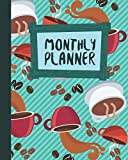 Monthly Planner: Coffee Beans Roasting Green Cover 8x10' 120 Pages/60 Months Checklist Planning Undated Organizer & Journal - Christmas Gifts