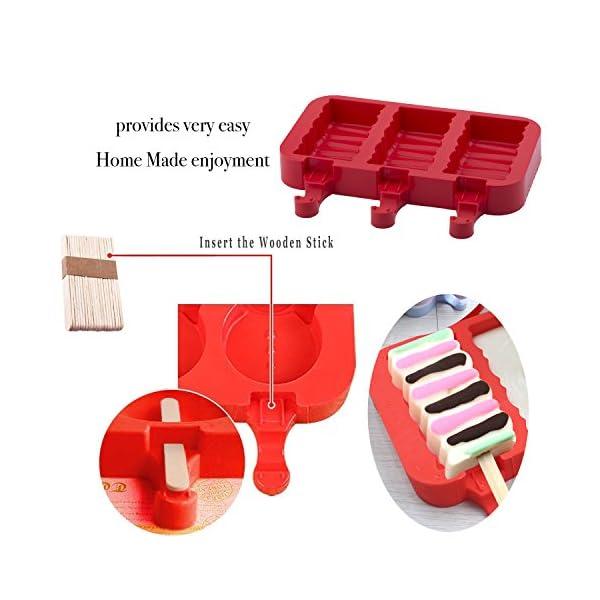 Popsicle Molds Stampo Per Gelato Popsicle Maker Popsicle Stampi Ghiacciolo Rosso Rettangolo Con Popsicle Stick… 5 spesavip