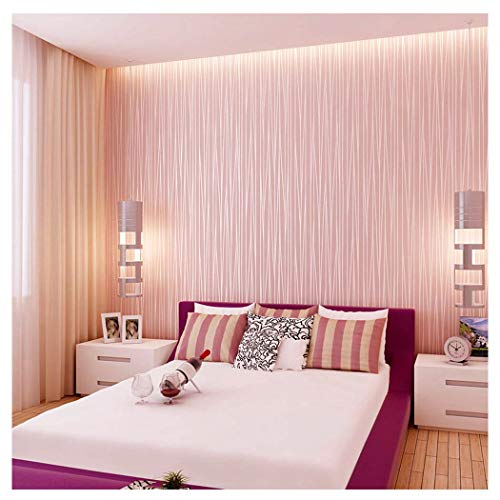Blooming Wall:Non-Woven Classic Plain Stripe Moonlight Forest Wallpaper,20.8 In32.8 Ft=57 Sq ft Per Roll,Princess - Pink Glitter Princess
