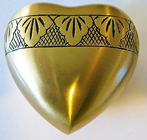 Heart Keepsake Funeral Urn by Liliane - Mini Cremation Urn Hand Made in Brass Fits a Small Amount of Cremated Remains and Ashes 3 inches Tall Burial Urn Corinthian Bronze Heart Model