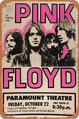 Durable No Rust Business Sign 12x16inches,Pink Floyd Paramount Theatre,Tin Plaque Wall