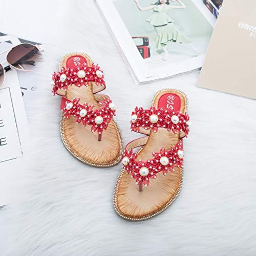 Sandales Casual Peep Cozy Toe Bohême Clip Toe Pantoufles Mode Pour Chaussures 312 Plat Respirant Plage Vovotrade Rouge Femmes 2019 D'été waU0n7q
