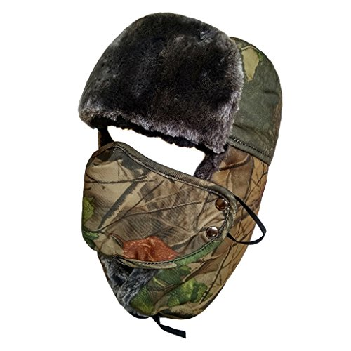 LETHMIK Camo Winter Hunting Hat Faux Fur Unisex Trapper Trooper Russian Ushanka Hat Yellow Camo