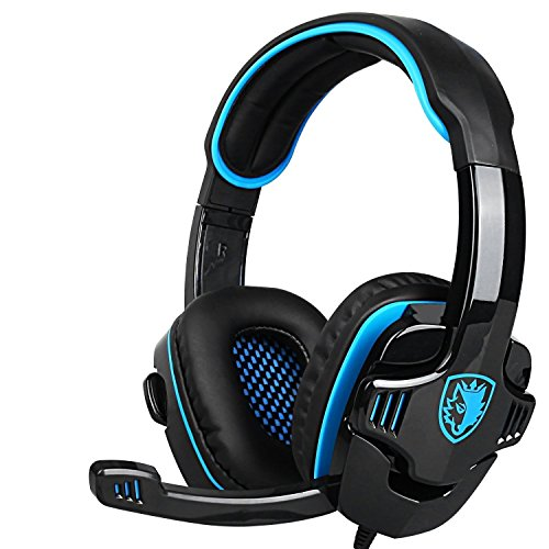 New Updated PS4 Gaming Headphones,SADES SA708GT 3.5mm Jack Stereo Over Ear Computer Gaming Headset with Microphone for PC/Laptop/Mac/Ipod(Black and Blue) by Sades
