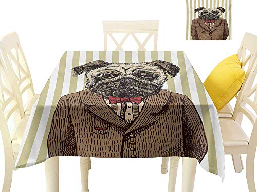 familytaste Wrinkle Free Tablecloths Pug,Hand Drawn Sketch of Smart Dressed Dog Jacket Shirt Bow Suit Striped Background,Brown Pale Brown Table in Washable Polyester W 50