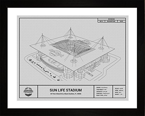 Miami Dolphins Framed Wall - Miami Dolphins Sun Life Stadium Framed Blueprint Wall Art