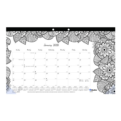 Blueline 2018 Monthly Coloring Desk Pad Calendar, Botanica, January - December, 17.75 x 10.875 inches ()