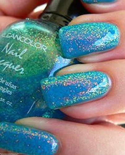 1 Set 3D Effect Holographic Glitter Nail Polish Beauty Popular Chunky Holo Teal - Show Vegas At Las Fashion Shops