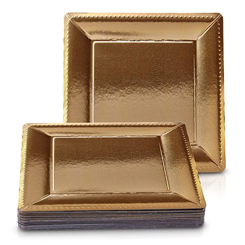 DISPOSABLE SQUARE CHARGER PLATES - 20pc (Metallic/Gold) by Silver Spoons