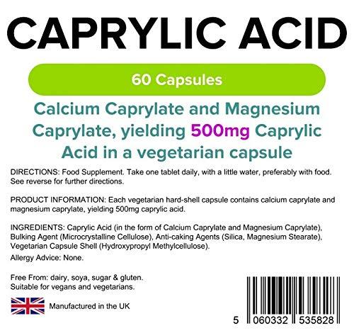 Lindens Ácido caprílico 500 mg cápsulas | 60 Paquete | Cápsula de liberación rápida que se obtiene de leche de coco y ácido graso natural importante para la ...
