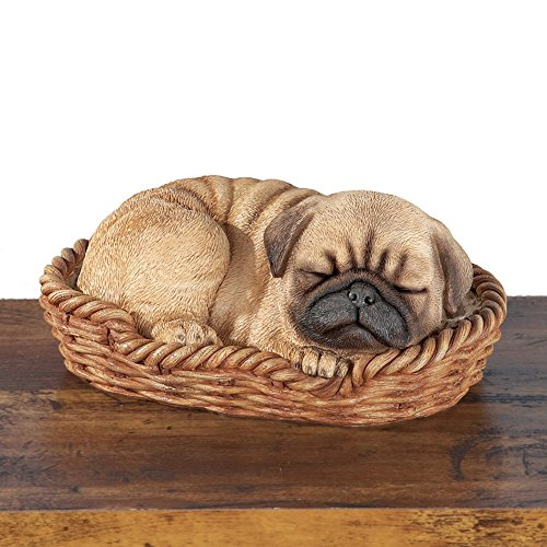 Collections Etc Sleeping Pet Pal In Basket Figurine, Pug