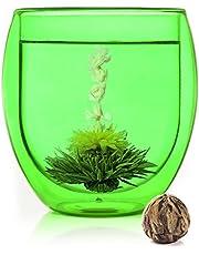 bedida 400 ml Jumbo – grönt termoglas teblomma – 400 ml grön XXL dubbelväggigt kaffe och te termoglas teblommor med flytande effekt, kaffeglas/teglas inkl. teblomma
